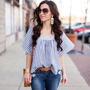 Madewell Stripe Play Butterfly Flowy Top
